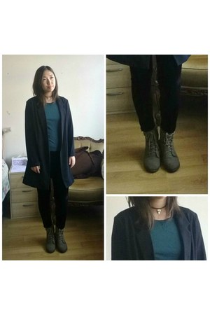 Peacocks boots - new look coat - Missguided leggings - H&M top