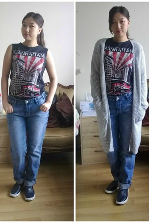 H&M shoes - new look jeans - new look cardigan - River Island top