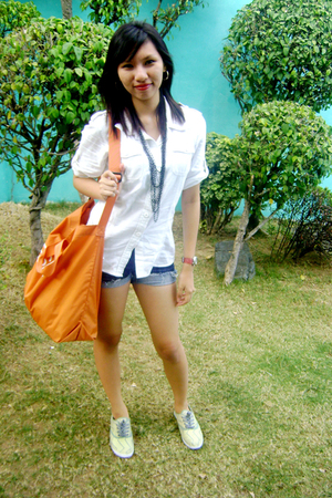 white random blouse - blue DIY shorts - orange Esprit purse - yellow Mango shoes