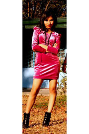 pink own design dress - black f21 boots