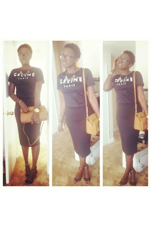 black Forever 21 skirt - black strappy heels Zara shoes