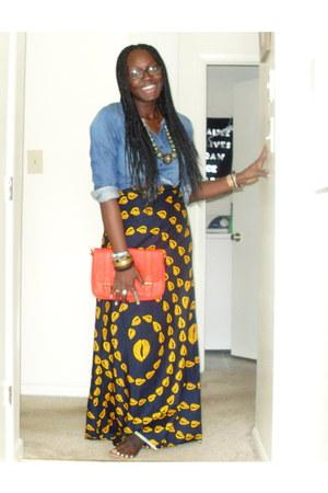 denim shirt H&M shirt - maxi skirt DIY skirt - dark brown unknown sandals