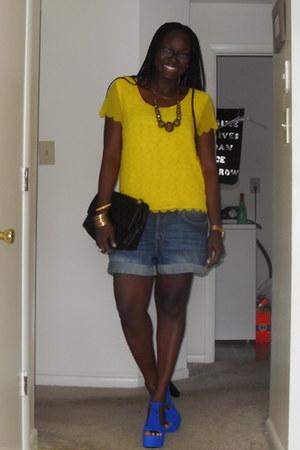 blue platforms Jeffrey Campbell shoes - yellow sheer H&M blouse