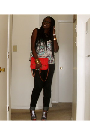 foxy glitter Jeffrey Campbell shoes - black black Forever21 jeans - red quilted