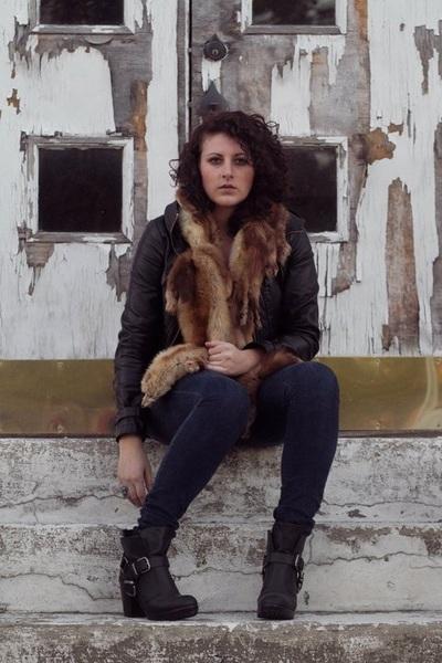 brown scarf - black Dolce Vita shoes - blue BDG jeans - black jacket