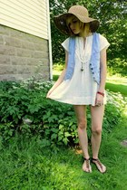 white Forever 21 tunic dress - light brown World Market floppy hat - vintage den