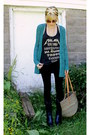 Black-vintage-laredo-boots-teal-knitted-lauren-conrad-sweater-thrifted-silk-