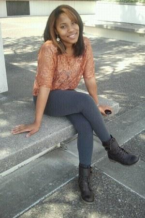Spring boots - H&M leggings - Forever 21 top - H&M earrings