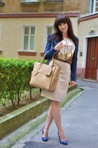blue denim jacket unknown brand jacket - tan Parfois bag
