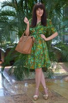 green handmade dress - brown Parfois bag - gold leather unknown brand sandals