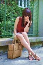 gold more & more skirt - camel Parfois bag - tawny Prada sunglasses