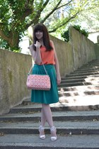 white Parfois bag - teal more & more skirt - carrot orange Koton top