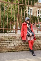 red Carlo Cessi coat - black leather Eobuv boots - charcoal gray wool Zara hat