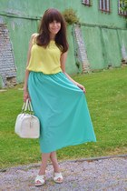 light blue handmade skirt - eggshell Parfois bag
