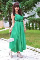 green unknown brand dress - silver unknown brand bag - silver Tamaris sandals