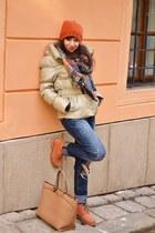 gold Zara coat - carrot orange suede Weinbrenner boots - navy denim Zara jeans
