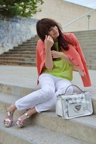 white Mango jeans - coral more & more blazer - white Parfois bag