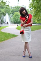 red Parfois bag - yellow handmade handmade skirt - blue leather Kati pumps