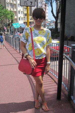 yellow top - ruby red bag - carrot orange Aldo sandals