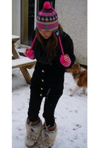 asos hat - A-wear cardigan - Tommy Hilfiger boots - Topshop jeans - Topshop glov