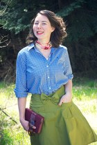 moss linen Kellie Falconer skirt - blue gingham Ralph Lauren blouse
