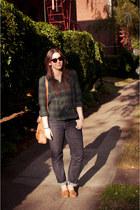 navy H&M shirt - navy loose cuffed Gap jeans - bronze shoulder Cole Haan bag
