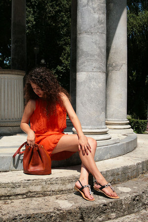 silk Class fashion Italy dress - leather Hermès Marketbag bag