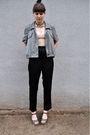 Beige-bdg-blouse-black-vintage-pants-green-dkny-jacket-green-nine-west-sho