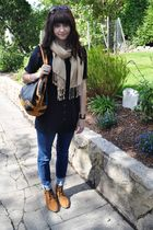 blue Betsey Johnson blouse - beige Gap scarf - blue BDG jeans - brown Urban Outf