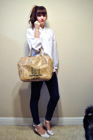 white vintage blouse - navy BDG jeans - camel vintage bag