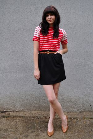 black DIY skirt - brown woven pumps vintage shoes - brown woven thrifted belt