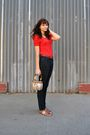 Red-h-m-blouse-brown-thrifted-belt-bdg-jeans-brown-nine-west-shoes-brown