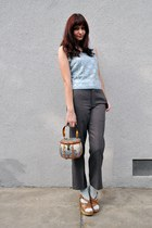 light blue vintage blouse - gray vintage pants - light blue socks - tawny vintag