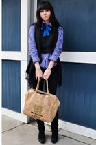 black vintage vest - blue vintage shirt - black J Brand jeans - black Gap scarf