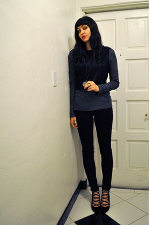 black thrifted vest - black july wedge Jeffrey Campbell shoes - black Gap shirt