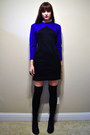 Black-combat-dolce-vita-for-target-boots-blue-vintage-dress-black-knee-high-