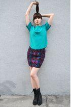 blue vintage blouse - black thrifted belt - purple vintage skirt - black Dolce V