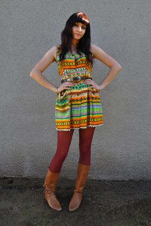 red Urban Outfitters tights - brown fringe vintage boots - vintage dress