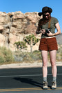 Olive-green-crop-top-t-shirt-tan-hiking-boots-dark-brown-floppy-felt-h-m-hat
