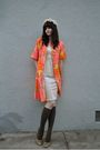 Beige-vintage-hat-beige-vintage-dress-orange-vintage-coat-green-socks-go
