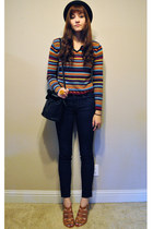 navy cropped skinny J Brand jeans - black boy george H&M hat - vintage sweater -