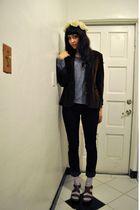 beige vintage hat - gray American Apparel shirt - brown vintage blazer - BDG jea