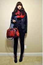 red Vans bag - crimson faux snakeskin Kimchi Blue boots