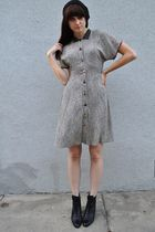 black hat - black vintage Enzo Angiolini boots - gray vintage 90s Zoe dress