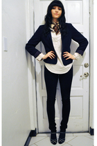blue vintage esprit blazer - blue peep toe pumps Circa Joan&David shoes