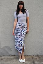 silver American Apparel top - blue vintage skirt - white vintage shoes - silver