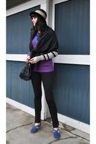 purple Lost sweater - black American Apparel pants - black vintage hat - blue th