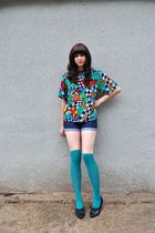 black vintage shoes - blue jean BDG shorts - green knee high Target stockings