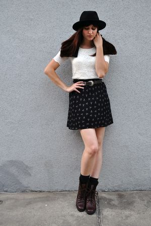 black vintage hat - white thrifted blouse - black thrifted skirt - black Gap soc