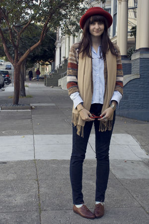brown vintage cardigan - brown oxfords vintage shoes - BDG jeans